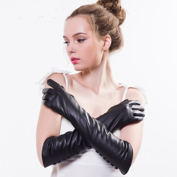 womens winter fashion 2018 lady's leather gloves sheepskin Mittens elbows long gloves women's touch screen thick Winter Glove