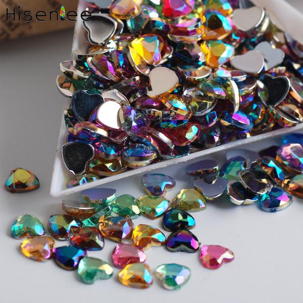1000PCS Fashion Charm Japanese Sweet Style Heart Shape Rhinestone Acrylic Design Crystal Clear Nail Art Jewelry Decoration Tool