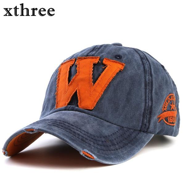 Xthree heißer Baumwollstickerei-Buchstabe-W-Baseballmütze-Hysteresen-Kappen passten Knochen Casquette-Hut für Mann-kundenspezifische Hüte