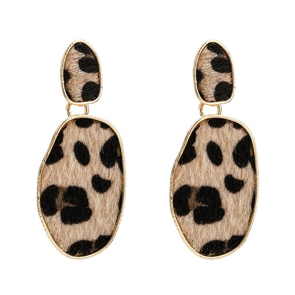 High Grade Bohemia Elliptical Iron Drop Earrings For Women New Leopard Print Europe And America Mature Woman's Personality Earring wholesale