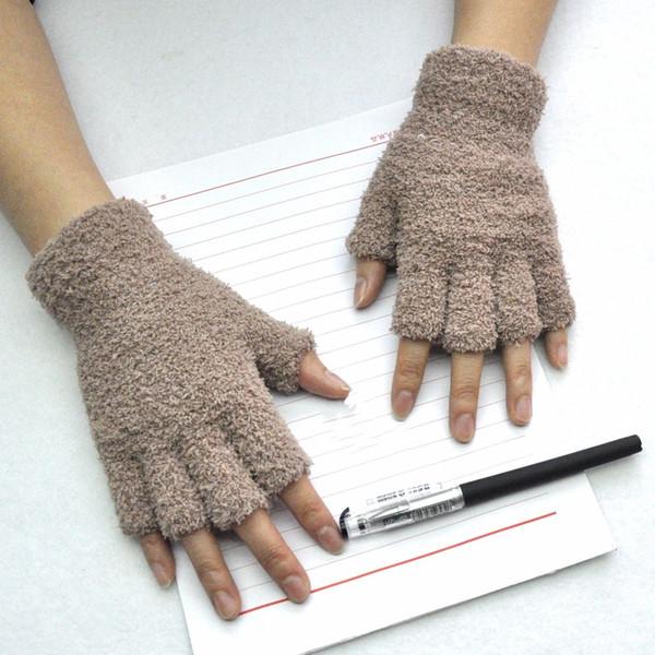 Compre Guantes Unisex Manopla Dedos Sin Dedos Medio Dedo Fuzzy ...