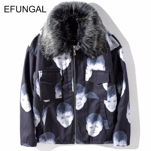 EFUNGAL 3d Print Character Hip Hop Cashmere Inside Parkas Men Winter Warm Streetwear Collar Detachable Parka Jacket Coat FD21