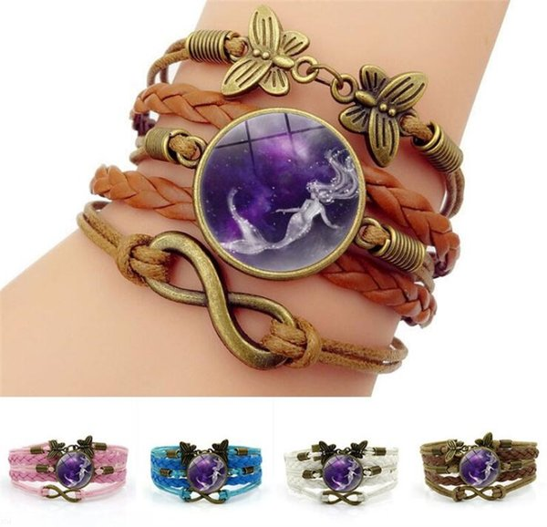 Mermaid Photo Charm Bracelets For Women Fashion Time Gem Cabochon Butterfly Infinity Jewelry Multilayer Leather Bracelet