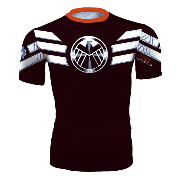 Men's fashion creativity t-shirt superman black tights tee superhero shield sport short sleeves cycling fast dry basketball vest