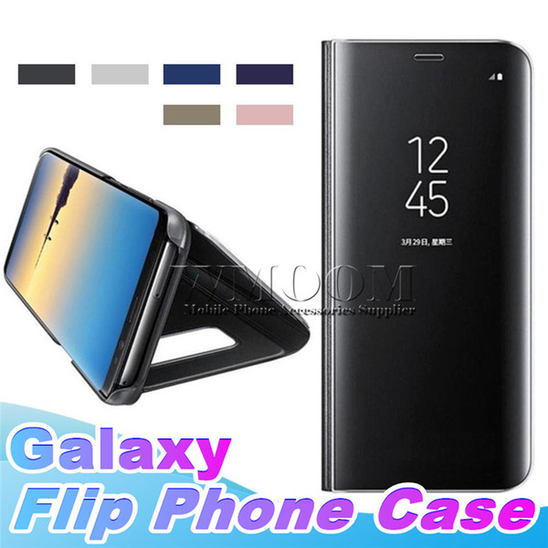 Luxury Cover Flip Stand Clear View Mirror Phone Case For Samsung Galaxy S9 Plus S8 S7 S6 edge Note 9 8 Iphone XS MAX XR X 7 6s With package