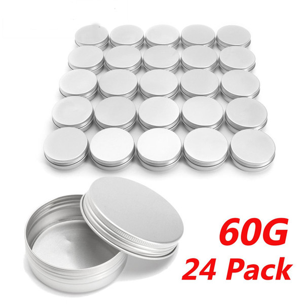 60g Empty Aluminium Cosmetic Container Balm Silver Metal Jar Can Tin For Ointment Hand Cream Nail Gel Powder Makeup Tools