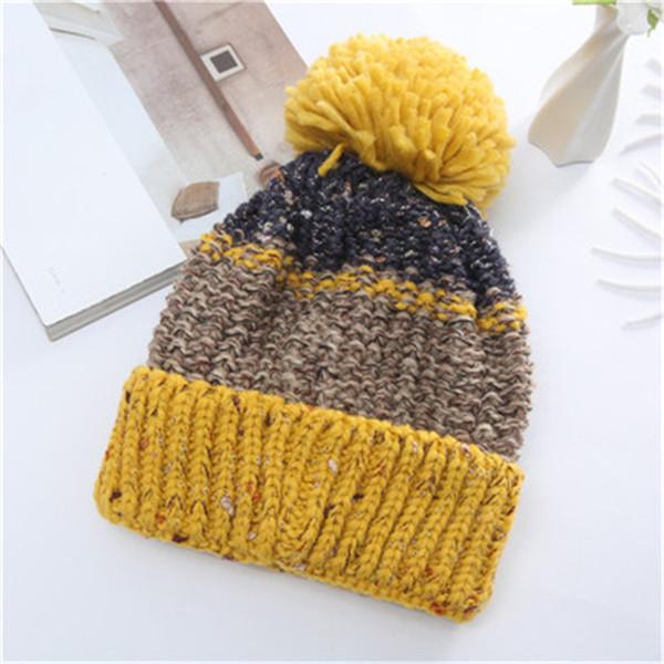 2019 female winter warm thick line knit hat winter pullover hat wool ball earmuffs plus velvet hat female