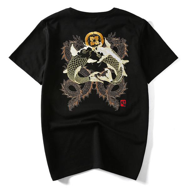 Ricamo a mano Brocade Carpa Pesce e Drago Uomo T -shirt Manica corta O -Collo Tops maschile Plus Us Taglia Xs -Xxl