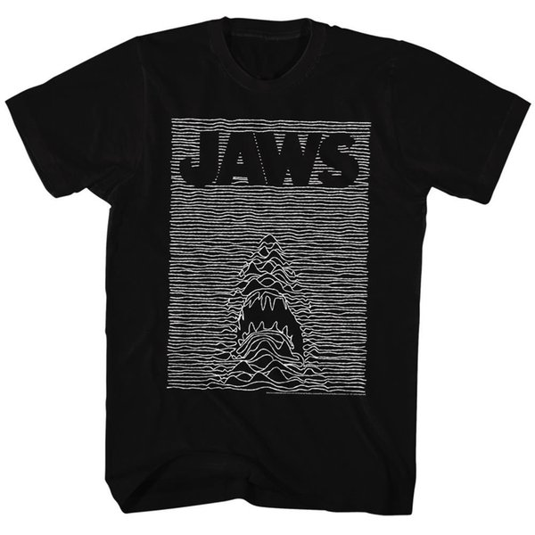 Jaws Tall T-Shirt Waves Rippling Movie Poster Black Tee Tee Shirt Men Screen Printing Short Sleeve Thanksgiving Day Custom 3XL Family Tee