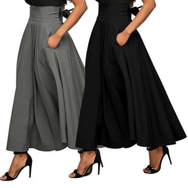 nouveaux styles b88e7 39a45 Acheter Jupe De Mode D'été Avec Poche Jupe De Longueur Cheville Solide De  Haute Qualité Pour Les Femmes Jupe Longue Noire De $15.08 Du Qqmall | ...