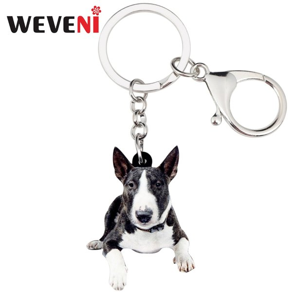 WEVENI Acrylic American Pit Bull Terrier Dog Key Chains Keychain Rings Cute Animal Jewelry For Women Girls Handbag Charms Bulk