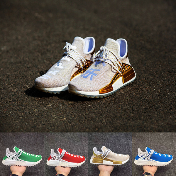 New color Human Race mens shoes Peace Passion Happy Youth and Heart hu Pharrell Williams black blue green red Womens Running Sneakers