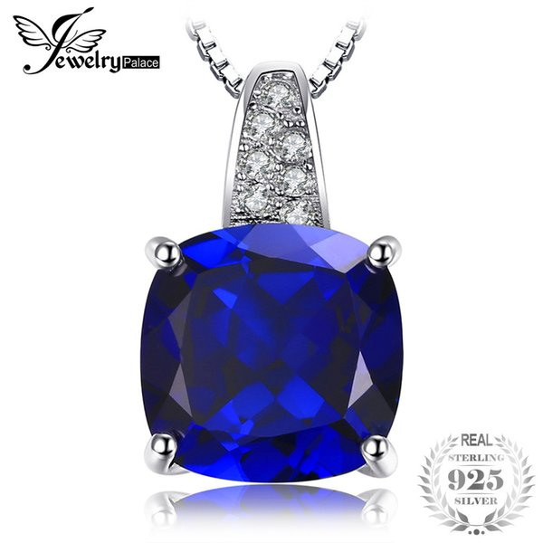 JewelryPalace Cushion 4.9ct Blue Created Sapphire Solitaire Pendant Necklace 925 Sterling Silver 45cm Box Chain Fine JewelryY1882503