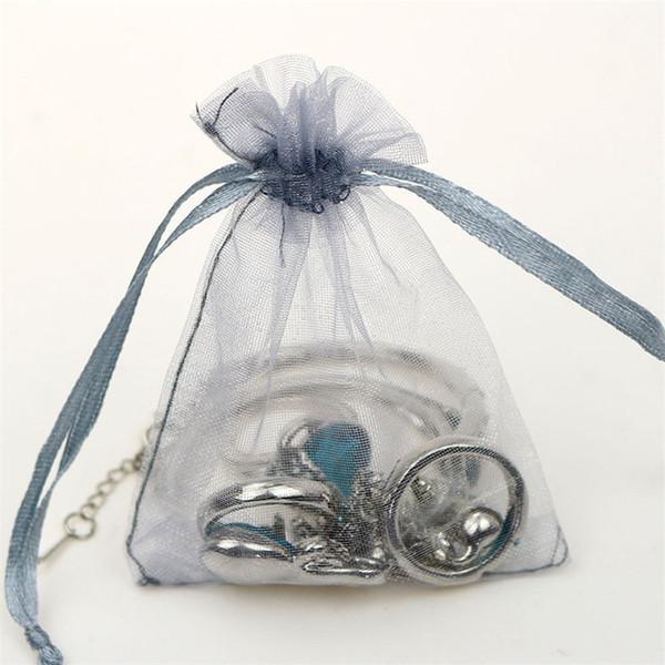 Silbergrau Geschenktüte Organza Kordelzug Beutel Ohrringe Ring Halskette Braceklets Organizer Sack Schmuck Geschenkverpackung Tasche