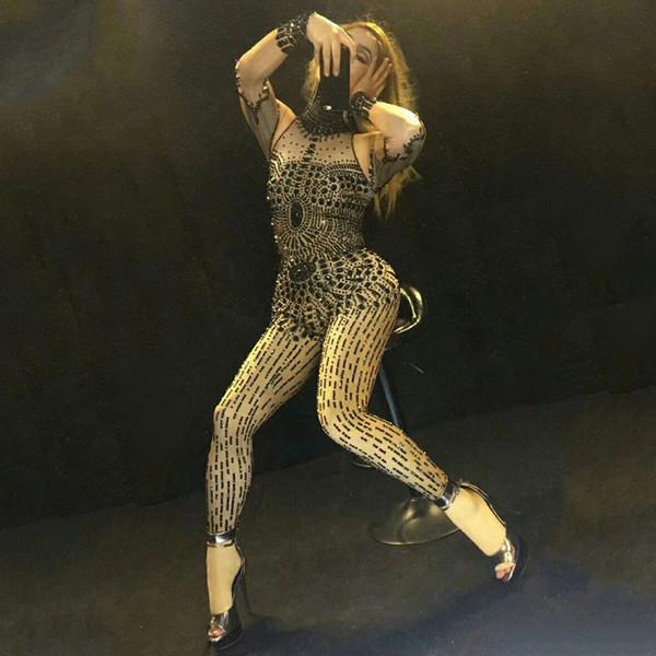 Черный горный хрусталь комбинезон сценическое выступление наряд вечеринка отпраздновать блестящие кристаллы костюм стрейч комбинезон комбинезон носить DJ307