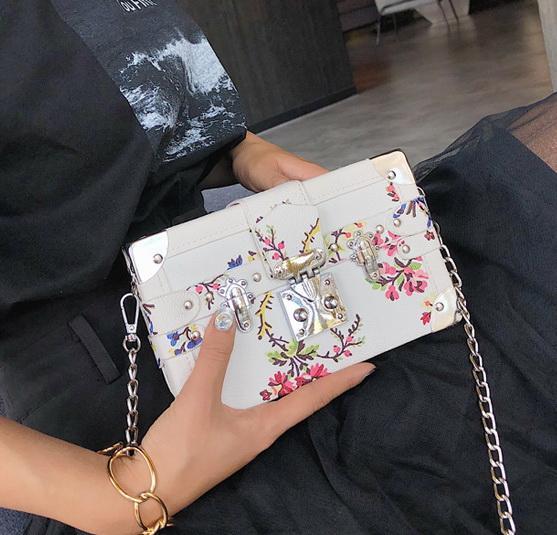 New women chain printing handbags lady shoulder messenger cross body bags female fashion evening casual purses white/blue no932