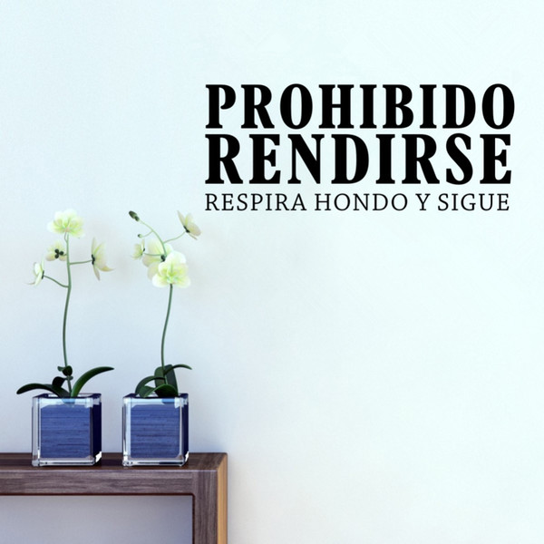 Inspirational Spanish Quotes Prohibido Rendirse Vinyl Decals Art Wall  Stickers Room Office Mural Destination Home Decoration Decals Wall Decals  Wall ...
