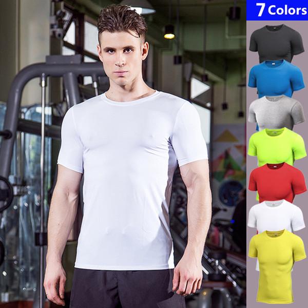 Summer Tshirt Male Yoga Compression Men's Short Sleeve T-Shirts Running Shirt Fitness Tight Tennis Soccer Jersey Gym Demix Sportswear