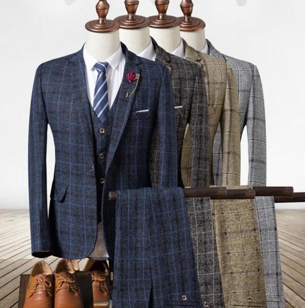 2018 Mens Suits 3 Piece Classic Tweed Herringbone Check Grey Navy Slim Fit Vintage Suit Groomsmen Wear Top Quality