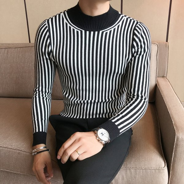 Pullover Homme Slim Fit Mens Striped Sweaters Turtleneck 2018 Winter Sweaters for Mens Pullover Korea Fashion Sueteres