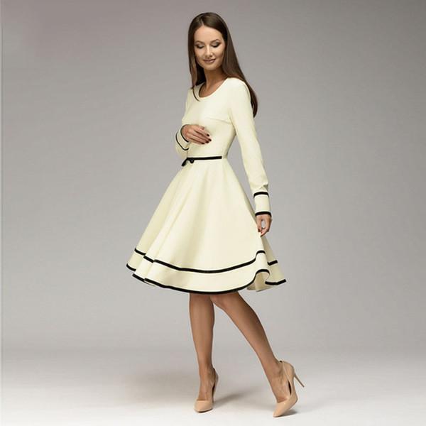 Frauen einfache A-Linie Kleid 2018 Herbst Winter O-Neck Langarm Knielanges Kleid Elegnat Frauen casual solid vestidos