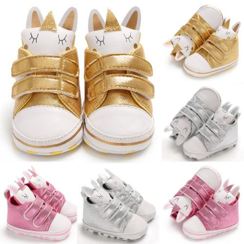 Newborn Infant Toddler Baby Girl Soft Sole Crib Gold Silver Prewalkers Shoes HOT