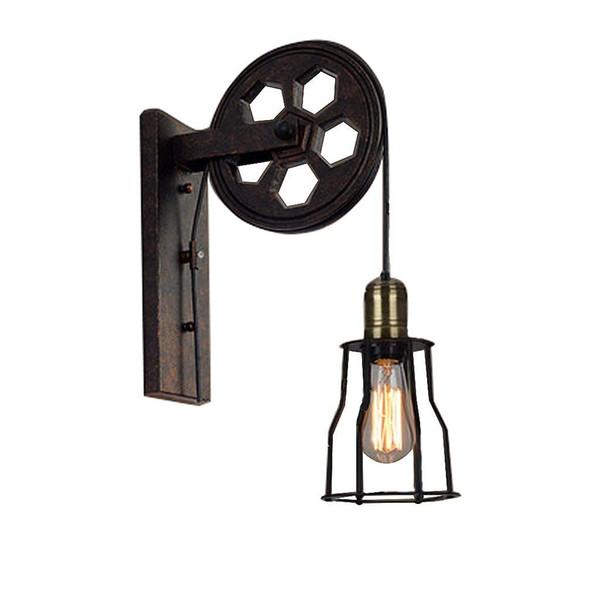 Attic industrial retro wall lamp creative lifting pulley wall lamp personality restaurant aisle wall lamp