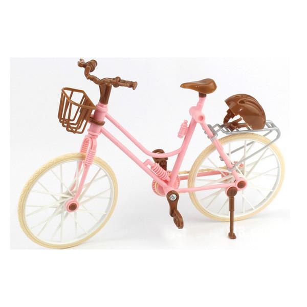 Alta Qualidade Bonito Da Bicicleta Da Moda Destacável Bicicleta Rosa Com Capacete De Plástico Marrom Para Bonecas Acessórios