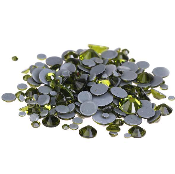 Olivine Glitter A++ Grade Quality Glass Crystals Strass Stones Hotfix Rhinestones For clothing Garment Accessorie With Germany Glue