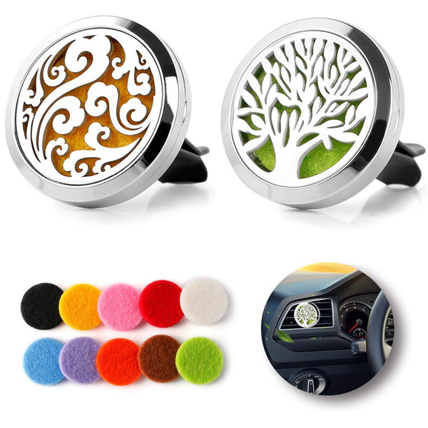 top popular Car Perfume Clip Home Essential Oil Diffuser For Car Locket Clip Stainless Steel Car Air Freshener Conditioning Vent Clip 30mm with 10pads 2021