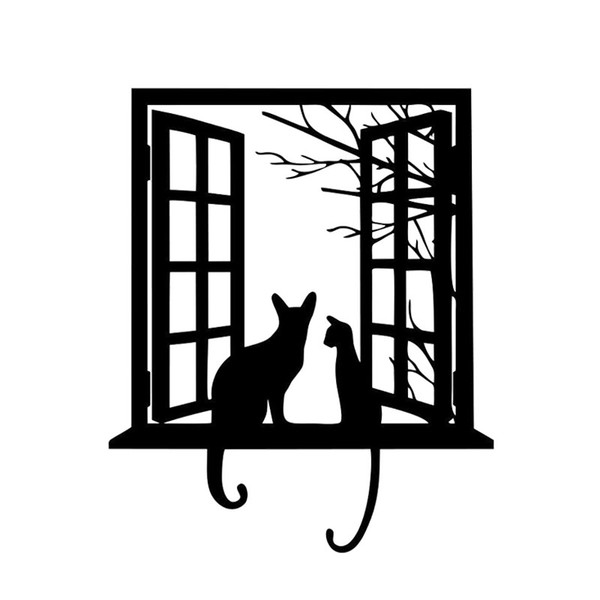 Wall Sticker Cat Looking From Window Kids Room Wall Decal Art Tattoo Front Sticker