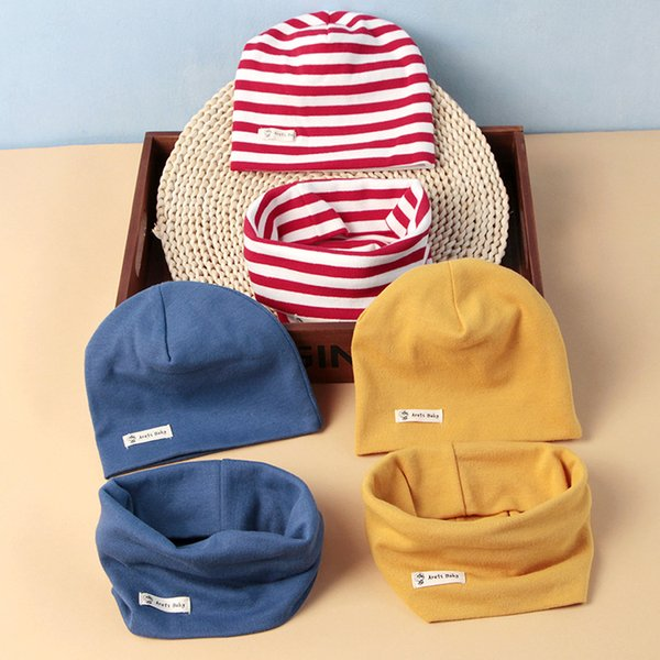 2018 Kids Hat Cap Candy Solid Colors Boys Girls Baby Beanies Hats Cotton Born Baby Hat Toddler Infant Caps with Scarf