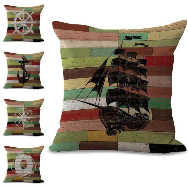 Straps Sailing Boat Compass Pillow Case Cushion Cover linen cotton Throw Square Pillowcase Cover Home Decorative Drop Ship 300856