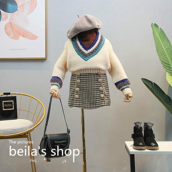 2018 hiver nouvelles filles vêtements vêtements prétendent deux barres de bande design décoratif paillettes pull large