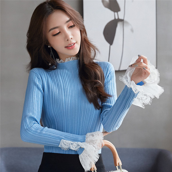 Fashion New Pullover Sweater Stand Collar Flare Sleeve Ruffle Long Sleeve Knits Slim Underwear Autumn Winter Womens Sweaters