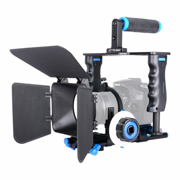 Großhandel Aluminiumlegierung Kamera Video Cage Kit Film System mit Video Cage Top Griff Grip Matte Box Follow Focus für DSLR