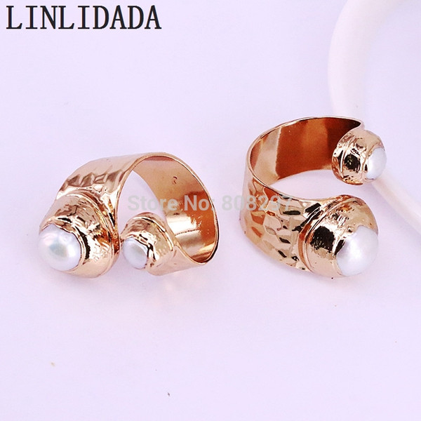 5Pcs New Arrival Fashion Metal Gold Color Adjustable double natural pearl ring for women Jewerly