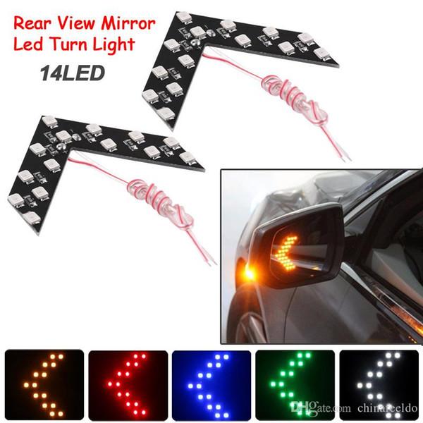 LEEWA 40pcs Auto / Car LED Arrow Lights 14-smd Specchietto laterale Indicatore di direzione posteriore LED Light 5 colori per la scelta # 3108