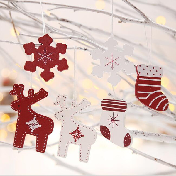 natural wood Christmas ornaments pendant hanging gifts crafts snowflakes elk socks Xmas tree decor home party holiday decorations