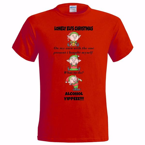 Christmas elf Ladys Slim fit Mens T-shirt Festive Joke Gift Comedy Santa Girls