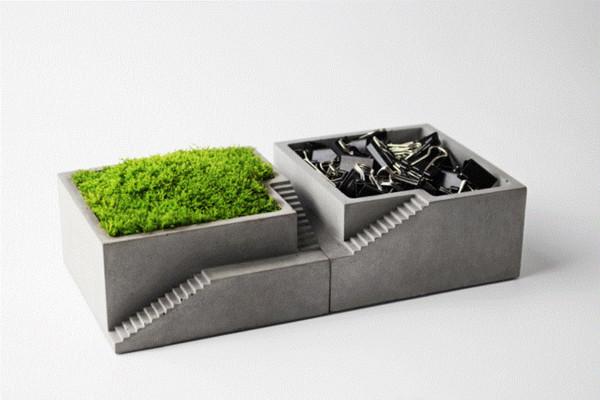 Moss bonsai silikon kalıp Beton Kare merdiven ile masaüstü çimento çoklu çiçek tencere dekorasyon için