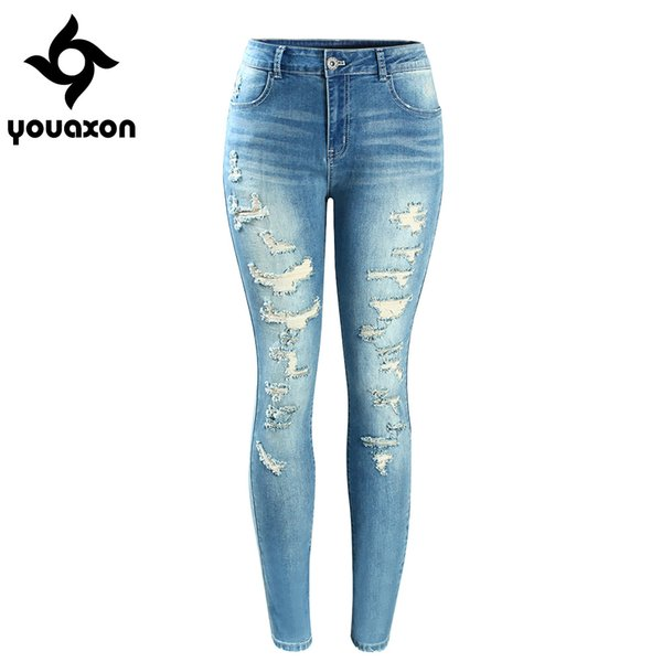 2074 Youaxon Mujer Nueva Marca de Moda Mediados de Cintura Alta Stretch Vintage Wash Ripped Skinny Denim Pantalones Vaqueros Para Mujeres