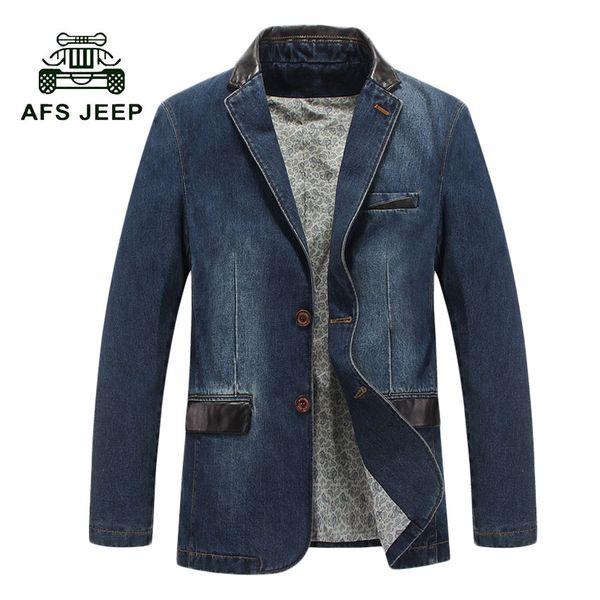 AFS Hot 2017 otoño casual Blazer hombres marea corriente masculina slim fit denim traje solo botón chaqueta de jean abrigo 130z