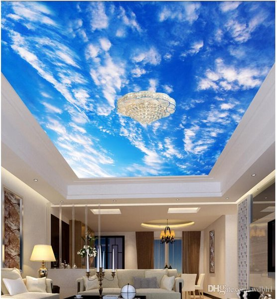 3d ceiling murals wallpaper custom photo non-woven mural Blue sky white clouds magnificent sky living room bedroom ceiling fresco