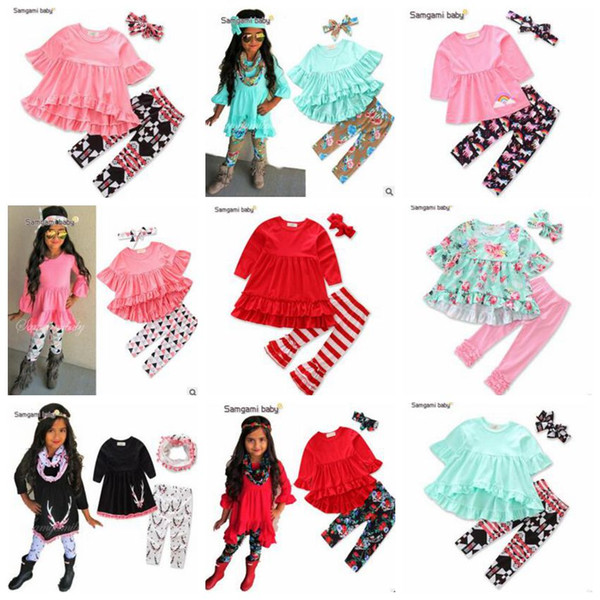 top popular Baby Clothes Girls Flower Tops Pants Ins Fashion T Shirts Leggings Ruffle Shirts Dress PP Pants Headband Shorts Outfits Kids Clothes B3701 2021