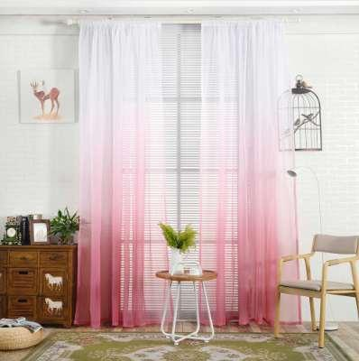 top popular 1PCS 200X100CM Gradient Sheer Curtain Tulle Window Treatment Voile Drape Valance 1 Panel Fabric Printed Curtains For Bedroom 2020