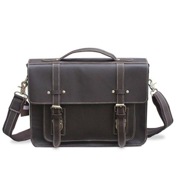 YISHEN Vintage Crazy Horse Leather Men Laptop Bags Briefcase Fashion Crossbody Bag Male Handbag Shoulder Messenger Bag MLT9019-1