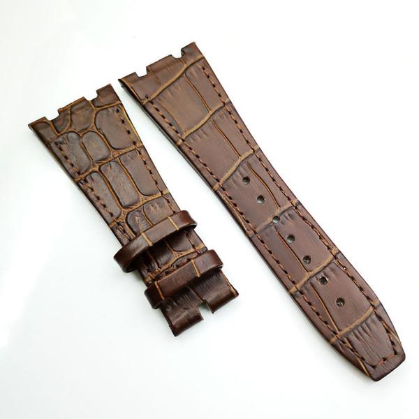 26mm / 18mm Bracelet en cuir veau de luxe de haute qualité marron pour Audemars Piguet Royal Oak