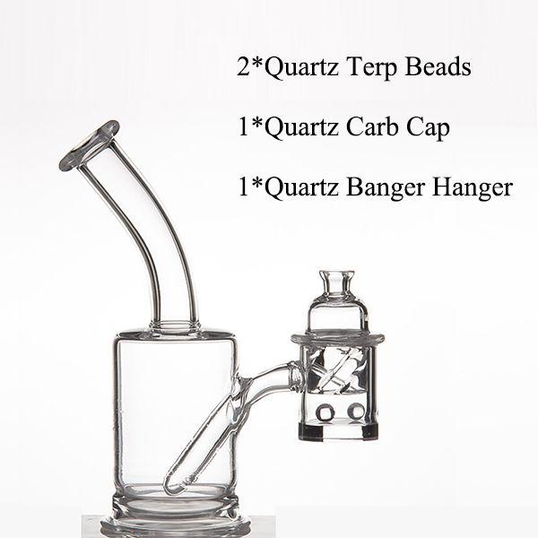 Quartz Banger Aufhänger 25mm Flat Top + Quarz Trep Perlen + 31mm OD Quarz Carb Cap für Glas Wasserleitungen Dabber Glasbongs Dab Oil Rigs