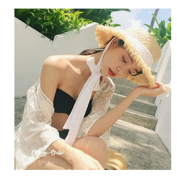 100% Handmade Weave Raffia Sun Hat For Women White Ribbon Lace Up Large Brim Straw Hat Outdoor Beach Summer Caps Chapeu Feminino